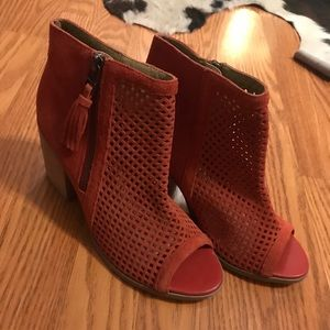 Sole Society Red Suede Booties Peep Toe